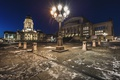 Картинка ночь, огни, Германия, площадь, фонари, архитектура, Берлин