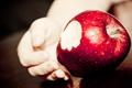 Картинка макро, яблоко, рука