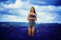 Картинка Model, Blue, Beauty, Summer, Lavender, Field, Katrina