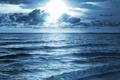 Картинка море, волны, небо, облака, свет, луна, горизонт