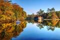 Картинка осень, озеро, лодка, яхта, домик, Ирландия, графство Мейо