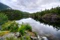 Картинка лес, облака, деревья, горы, озеро, камни, Канада