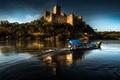 Картинка река, замок, лодка, Португалия, Almourol Castle