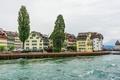 Картинка деревья, озеро, дома, Швейцария, набережная, Lucerne