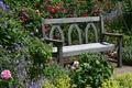 Картинка цветы, скамейка, Англия, розы, сад, Devon, солнечно