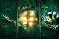 Картинка стекло, трещины, игра, рука, арт, BioShock, Big Daddy