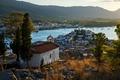 Картинка деревья, горы, река, дома, Греция, Poros