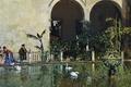 Картинка картина, Раймундо Мадрасо, Пруд в Саду Альказар в Севилье