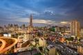 Картинка закат, огни, дома, вечер, Таиланд, Бангкок, улицы