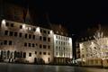Картинка ночь, огни, дома, Германия, Бавария, площадь, Нюрнберг
