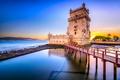 Картинка мост, Португалия, крепость, башня, Belem Tower, небо, Lisbon