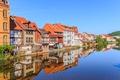 Картинка небо, пейзаж, река, дома, Германия, Гессен, Гребендорф