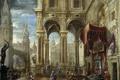 Картинка город, интерьер, картина, мифология, Франсиско Гутьеррес Кабельо, Суд Соломона
