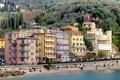 Картинка море, деревья, горы, дома, Италия, Лигурия, Леричи