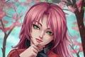 Картинка девушка, лицо, розовый, волосы, аниме, sakura, cherry blossom
